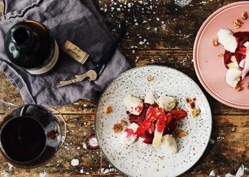 Rezept Marinierte Rote Bete- Spargel- Türmchen mit Roquefort-Mousse