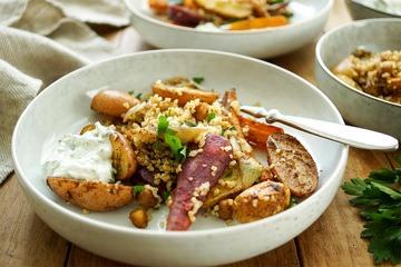 Rezept Marokkanisches Ofengemüse mit Kichererbsen und Bulgur