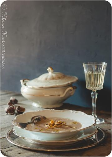 Rezept Maronencremesuppe mit karamellisierten Maronen