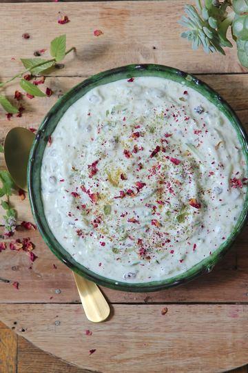 Rezept Mast-o Khiyar - persischer Joghurt-Dip mit Gurken und Sultaninen