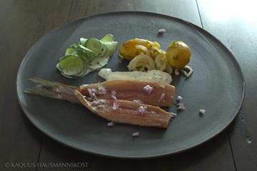 Rezept Matjes mit Kartoffel, Lauch,Gurke und Joghurt