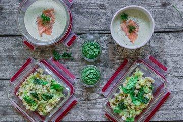 Rezept Meal Prep mit Wirsing: Suppe, Pesto und Spätzle