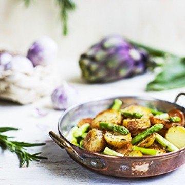 Rezept Mediterrane Spargel-Kartoffel-Pfanne