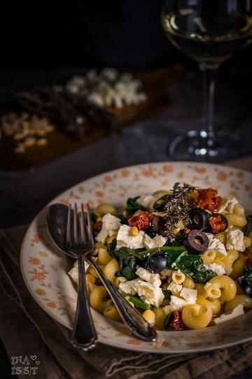 Rezept Mediterrane Weißwein-Pasta mit Spinat