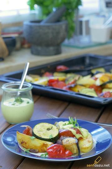 Rezept Mediterranes Ofengemüse mit Knoblauch Thymian Mayonnaise