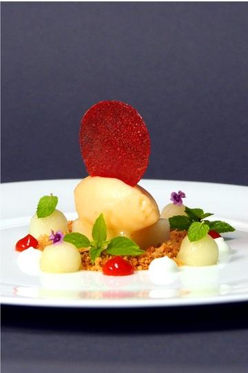 Rezept Melonensorbet, Erdbeere, Mandel und Joghurt