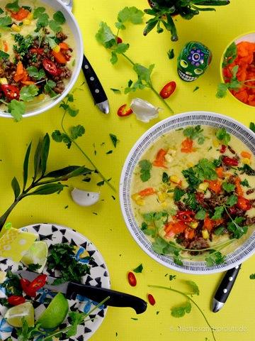 Rezept Mexikanische Maissuppe mit Chili-Limetten-Hack