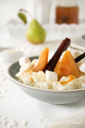 Rezept Milchreis mit sauergespritzten Gewürzbirnen und Marshmallows