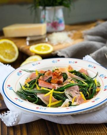 Rezept Mönchsbart-Salat mit Speckstreifen