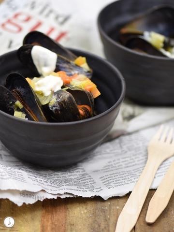 Rezept Moules Frites - Miesmuscheln mit Pommes & Knoblauch-Majonaise