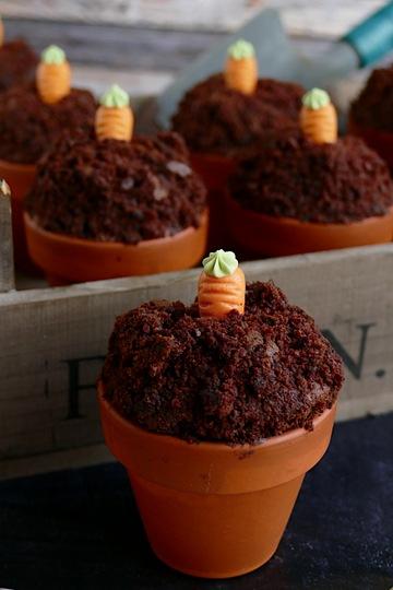 Rezept Muffins im Terracotta Blumentopf mit Mini-Rüblis