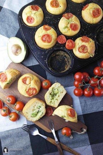 Rezept Muffins mit Avocado-Käse-Füllung