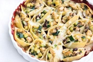 Rezept Muschelnudeln gefüllt mit Pilzen, Zucchini und Hühnerfleisch
