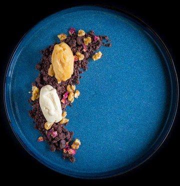 Rezept Nektarinen-Eis | Schokoladenerde | karamellisierte Walnuss