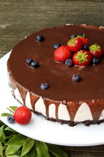 Rezept No-Bake Erdbeer-Schoko-Cheesecake