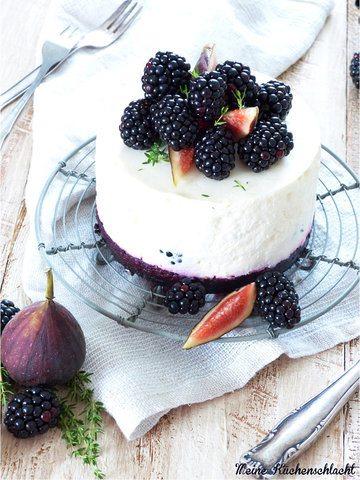 Rezept no bake Oreo-Brombeer-Feige-Thymian Ziegenfrischkäse Törtchen