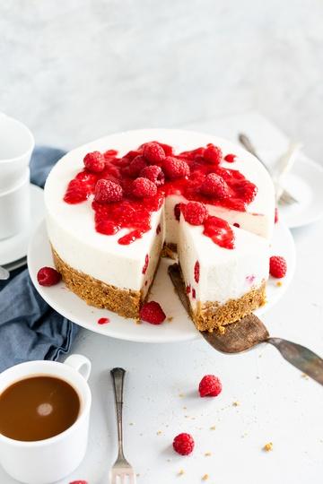 Rezept no bake Vanille-Himbeere-Cheesecake mit Kefir