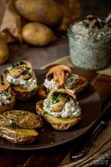 Rezept Ofenkartoffeln mit Pilzcreme und Petersilie