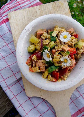 Rezept Opas Wurstsalat (mit Äpfeln und Kürbiskernöl)