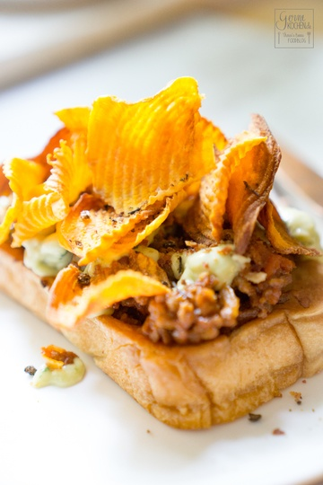 Rezept Open Sloppy Joes Sandwich mit Süßkartoffelchips