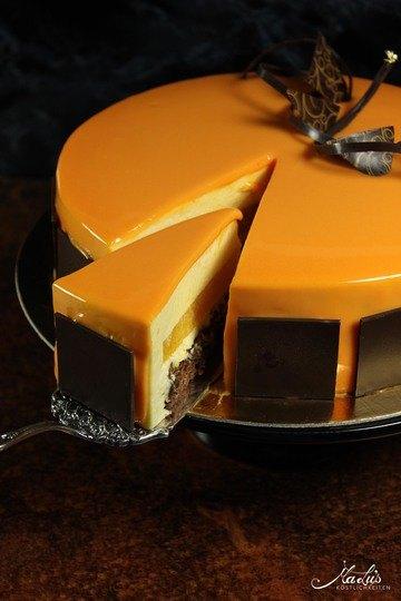 Rezept Orangentorte mit Schokoladenknusperboden und Glanzglasur