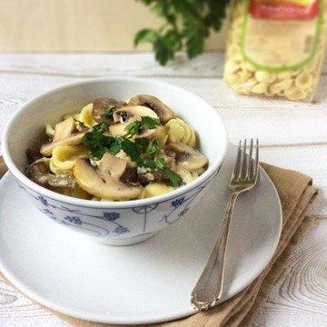 Rezept Orecchiette mit Parmesan, Aubergine und Champignons