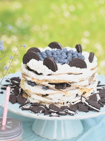 Rezept Oreo Blaubeer Pfannkuchen Torte