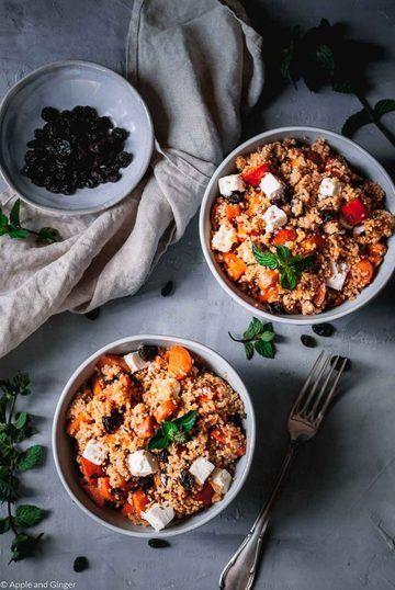 Rezept Orientalischer Couscous Salat mit Kürbis, Möhren, Feta und Rosinen
