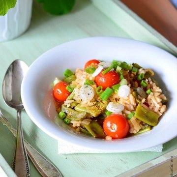 Rezept Paella mit Kirschtomaten, Bohnen und Lauchzwiebeln