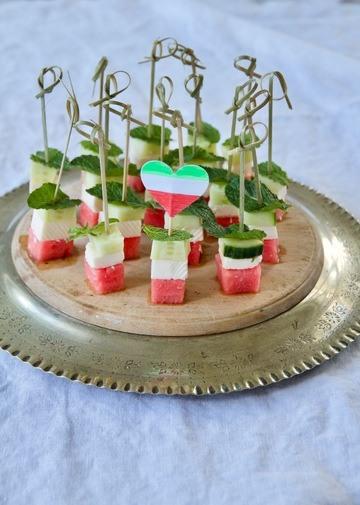 Rezept Panir Hendevaneh - Persische Wassermelonen-Feta-Spieße als Snack für die WM-Party