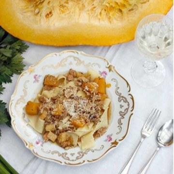 Rezept Pappardelle mit Hühnerragout und Kürbis
