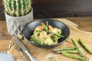 Rezept Pappardelle mit Pesto vom grünen Spargel und Garnelen