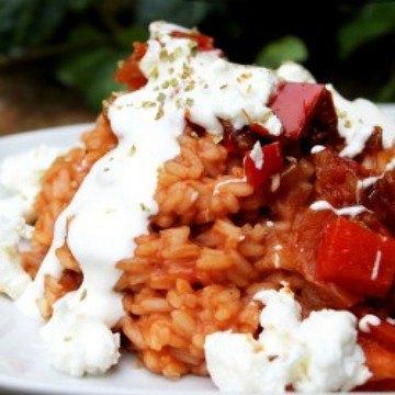 Rezept Paprika-Reispfanne mit Fetakäse