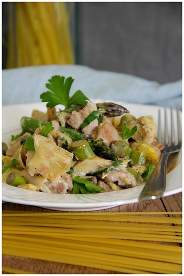 Rezept Pasta mit Artischocke, grünem Spargel und Pute