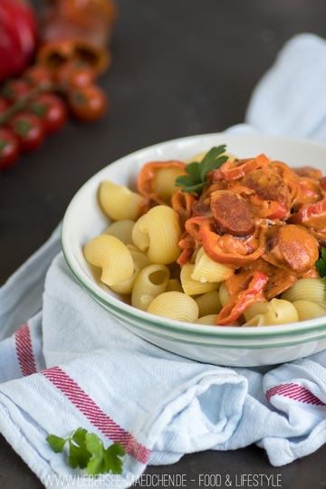 Rezept Pasta mit Chorizo-Tomaten-Sauce
