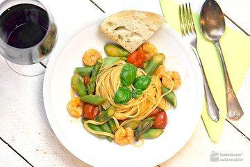 Rezept Pasta mit grünem Spargel und Garnelen