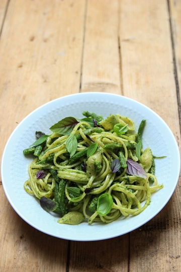 Rezept Pasta mit grünen Bohnen und Basilikum-Pesto