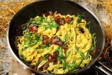 Rezept Pasta mit knusprigem Bacon