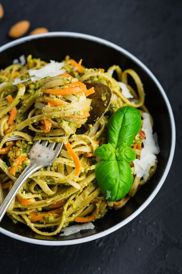 Rezept Pasta mit Möhren in Mandel-Pesto-Sauce