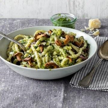 Rezept Pasta mit Pfifferlingen und Erbsenpesto