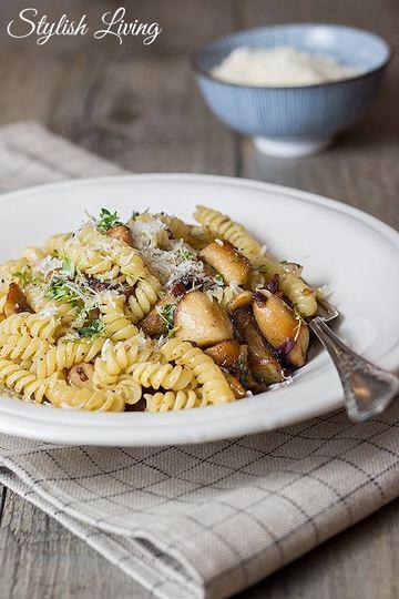 Rezept Pasta mit Speck und Kräuterseitlingen