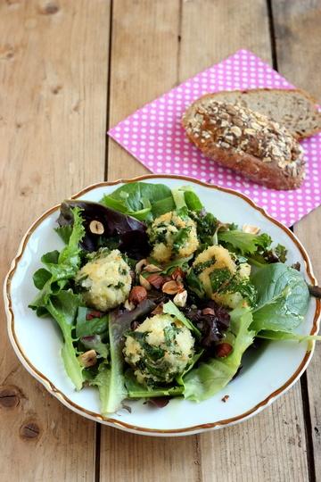 Rezept Pflücksalat mit Senf-Limetten-Dressing und Spinat-Reis-Bällchen