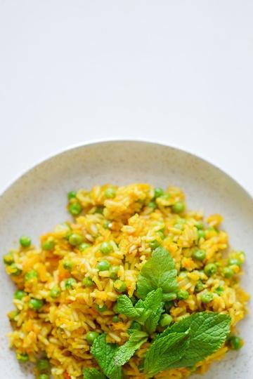 Rezept Pilaw mit Kürbis, Erbsen und frischer Minze
