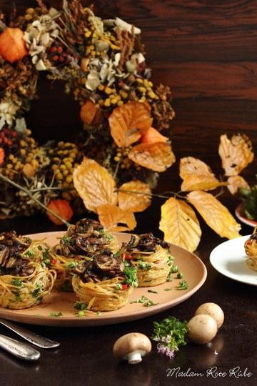 Rezept Pilzgefüllte Spaghetti-Frittata-Nester