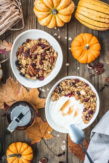 Rezept Pumpkin Spice Granola mit Cranberries
