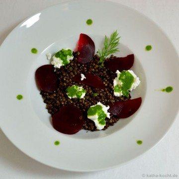 Rezept Puy-Linsensalat mit roter Bete und Ziegenkäse