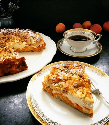 Rezept Quarkkuchen Rezept mit Aprikosen und Streusel