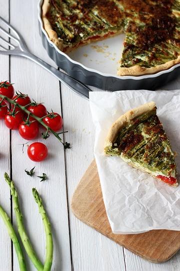 Rezept Quiche mit grünem Spargel und Tomaten
