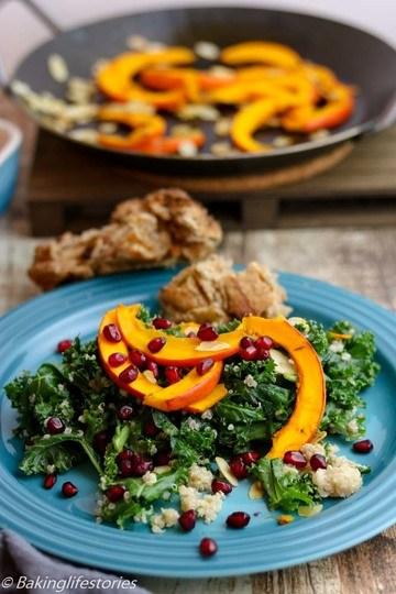 Rezept Quinoa-Grünkohl Salat mit geröstetem Kürbis