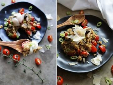 Rezept Quinotto mit Champignons, frischen Tomaten und Parmesan